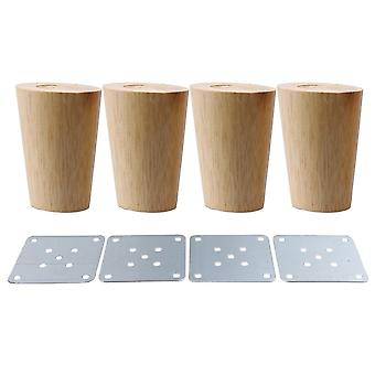 4pcs Wood Cone Furniture Foot Leg Feet 8*5.8*4cm
