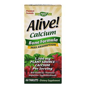 Nature's Way, Alive!, Kalcium, Benformel, 1 300 mg, 60 tabletter