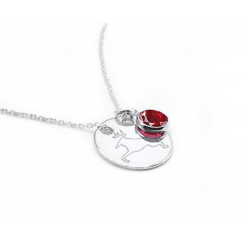 Ah! Jewellery Sterling Silver Reindeer Engraved Circle Necklace With A Siam Dangle Crystals From Swarovski, Stamped 925.