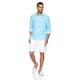 28 Palms Men's Standard-Fit Long-Sleeve 100% Linen Shirt, Blue Topaz, XX-Large