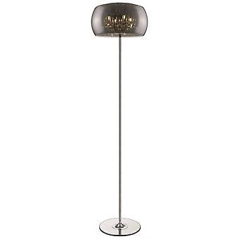 4 Light Floor Lamp Chrome, Cristal avec ombre en verre fumé, G9