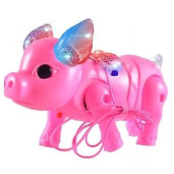 Cute Electric Music Walking Pig, Led Light Glow Electronic Pets Lantern Toy