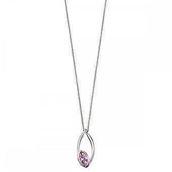 Fiorelli Silver Navette Pink Pendant P4656P