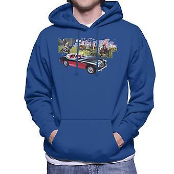 Austin Healey Background Of Sport Horses British Motor Heritage Men's Hooded Sweatshirt