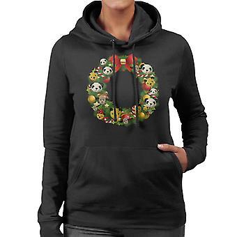 Sooty Christmas Wreath Women's Hooded Sweatshirt