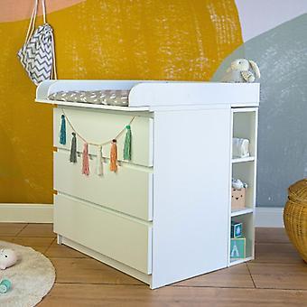 Puckdaddy oppbevaringsstativ Moritz 19x30x75cm i hvit matchende IKEA Malm kommode barnehage