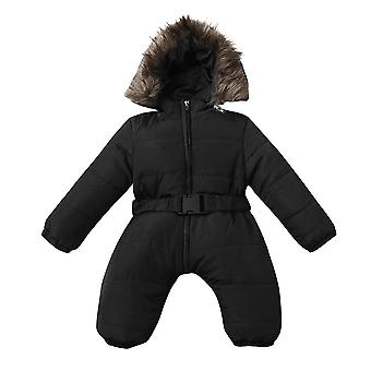 Winter Infant Baby Clothes Romper Solid Jacket, Hooded Jumpsuit Warm Thick