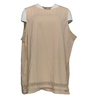 DG2 by Diane Gilman Women's Plus Top Crochet Detail Tank Pink 698-320