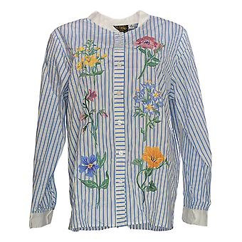 Bob Mackie Women's Top Floral Embroidery Button Front White A303013