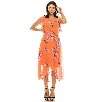 Floral Printed Sleeeveless Ruffle High Low Dress
