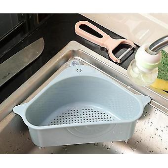 Coador triangular montado na pia da cozinha para legumes, frutas, suporte de esponja,