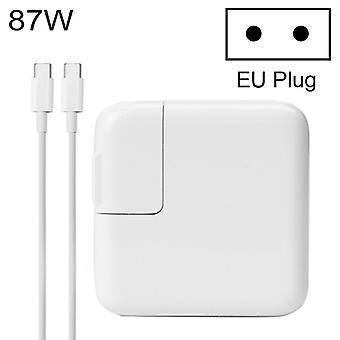 מטען נייד מתאם מתח מסוג C 87W עם כבל טעינה מסוג C 1.8m, תקע האיחוד האירופי, עבור MacBook, Xiaomi, Huawei, Lenovo, ASUS ומחשבים ניידים אחרים (לבן)