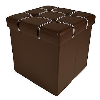 Pliable Tufted Storage Ottoman - Brown Faux Leather 15X15X15
