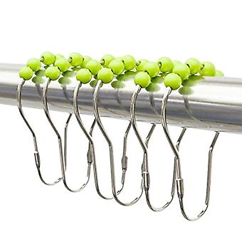 12pcs 7.5*4cm Roller Shower Curtain Hooks and Rings Easy Glide Action Green