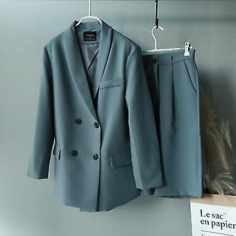 Women's Blazer Two Piece Suit Set Double Breasted Jacket