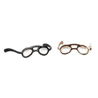 Nukketalon silmälasit musta &; Kullan lukulasit Miniatyyri 1:12 Lisävaruste