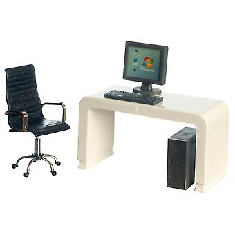Dolls House White Computer Desk & Black Swivel Chair Modern Office Furniture Set