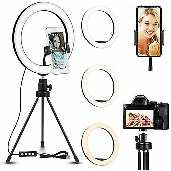 26cm Selfie Ring Light med lång Lazy Arm mobiltelefon hållare