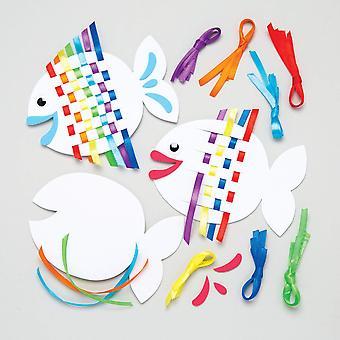 Baker ross rainbow fish weaving kits for kids - summer craft sets for children to make (pack of 6) 6