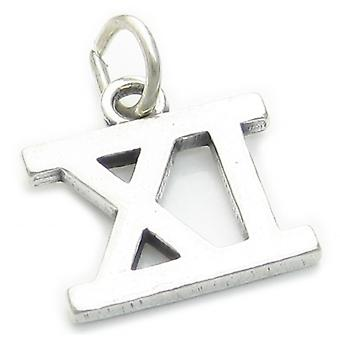 Roman Numeral Number 11 Sterling Silver Charm .925 X1 Xi Numerals Charms - 4299