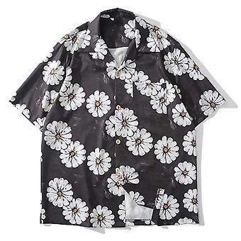 Daisy Flower Print, Hip-hop, Short Sleeve, Summer Casual Shirt
