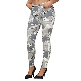 Women Skinny Stretch Waist Jeans Basic Pants Camouflage Pattern Jeggings Trouser
