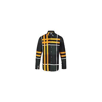 Jenson Samuel Green & Yellow Large Check Long Sleeved Regular Fit Shirt