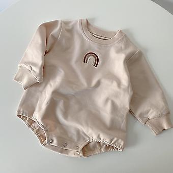 Baby Embroidery Rainbow Bodysuit Cotton Long Sleeve Jumpsuit