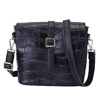 100% ekte skinn Croc mønster Crossbody Bag 20x9.5x18cm - svart