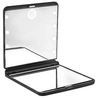Beter Folding Double Mirror with Led Light #Black