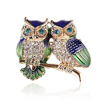 Corsage Owls Ladies Brooch Painted Enamel Brooch Pin