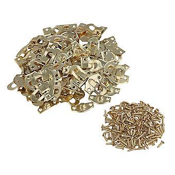50pcs Yellow Metal Padlock Hasp Jewelry Box Buckle Shackle Lock 21 x 20mm
