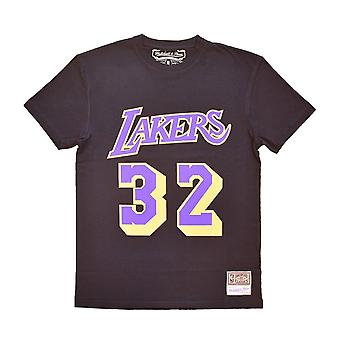 ミッチェル&ネスNBAロサンゼルスレイカーズマジックジョンソンネームナンバーSSTEINTL972LALBLCKJHバスケットボールオールイヤーメンズTシャツ