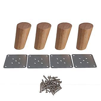 4pcs 10cm Height Oka Wood Round Taper Furniture Feet Tea Table Legs
