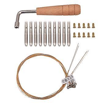 Lyre Tuning Wrench Hammer 10 strengeskruer 10 stålstrenge til Lyre