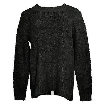 LOGO by Lori Goldstein Women's Sweater Small Mixed Media Black A385274
