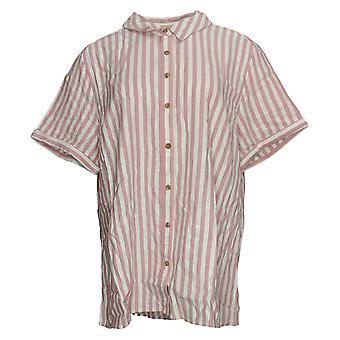 Isaac Mizrahi Live! Women's Top Button Front Striped Shirt Pink A379173