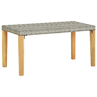 vidaXL garden bench 120 cm grey poly rattan and solid wood acacia
