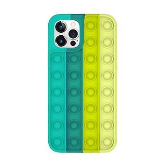 Lewinsky iPhone X Pop It Case - Silikon bubbel leksak fall anti stress omslag grön