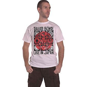 Camiseta oficial de David Bowie ao vivo no Japão logotipo Mens White