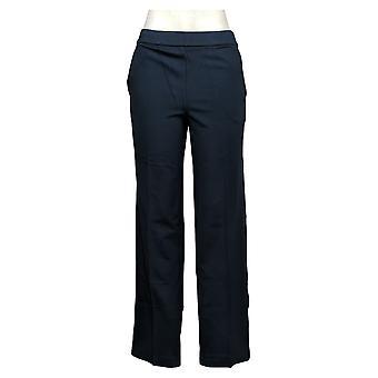 H By Halston Women's Pants Ultra Knit Pull-On Wide Leg Blauw A343493