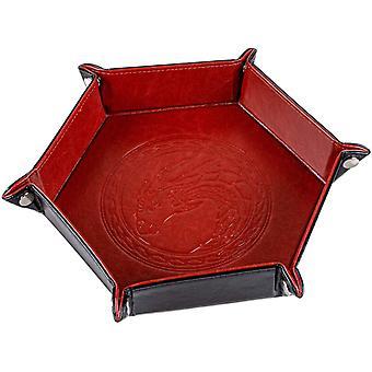 FengChun Kaz Drachendesign Wrfelschale, klappbare Sechseckplatte, Wrfelhalter fr Dungeons und