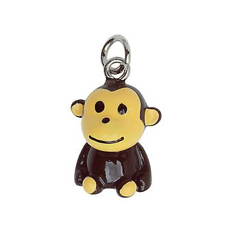 Jewelry Charm, 3-D Hand Painted Resin Sitting Monkey 22mm, 1 Piece, Brown