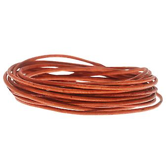 Genuine Leather Cord, Round 1.5mm,  By the Yard, Natural Orange