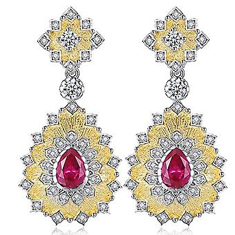 Gemshadow women 925 sterling Silver CZ drop earrings and 925, color: Ruby Red, cod. AQED000031