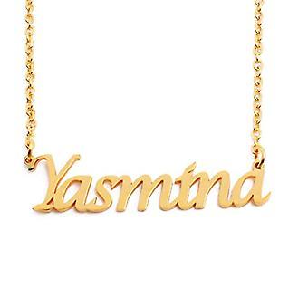 KL Yasmina - 18 karatin kullattu kaulakoru, mukautettu nimi, säädettävä ketju 16 - 19 cm