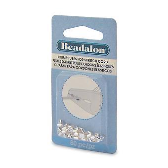 Beadalon Crimp Pärlor, Rör 4x2mm, För 0,7mm Gummi Stretch Sladdar, 80 Stycken, Silver pläterad