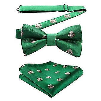 Racing green squirrel bow tie & pocket square