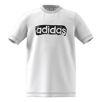 Kortärmad T-shirt För barn Adidas B G T2 GN1472 Vit Bomull