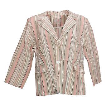 Laurie Felt Women's Suit Jacket/Blazer Stripe Crop Pink A352555